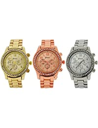 Geneva 3 Set Silvertone, Goldtone & Rosegold Tone Ladies Boyfriend Dress Watch