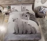 Bears - Bettwäschegarnitur für King Size Bett Eisbär Motiv Baumwollmischung #RAEBLAROP *RH*