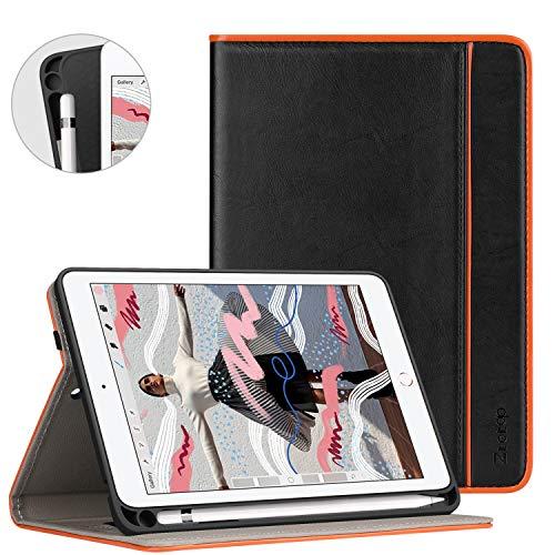 Ztotop Cover per Nuovo iPad Mini 2019 con portamatite,Premio Pelle Affari 2019 iPad Mini 5 7.9 Pulgada Custodia Case,Auto Wake & Sleep,Documento Carta Slot,Multi-Angolo,Nero