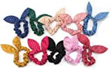 10x Cute Women's Dot Rabbit Ear Hair Bow Tie Bands Chiffon Ponytail Holder Hot