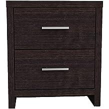 Furniture 247 - Comodino a 2 cassetti in rovere nero