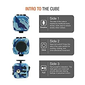 Meideli Fidget Cube Relieves Stress And Anxiety for Children and Adults Anxiety Attention Toy (Camo Blue)