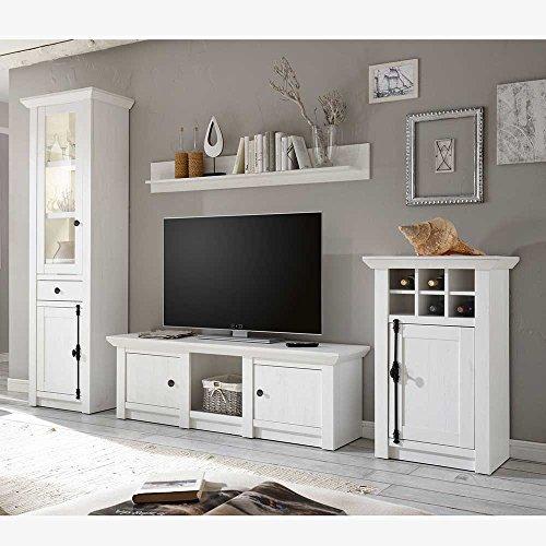 Pharao24 Design Wohnwand Im Landhaus Look Pinie Weiß (4 Teilig) Ohne  Beleuchtung