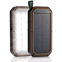Caricabatterie Solare Portatile 8000mah con 21 leds, GrandBeing® Caricatore Energia Solare per Cellulare con Porta Tre USB (5V 1A, 2A), Materiale ABS, Perfetto per Illuminazione, Emergenza, All'aperto, Escursioni, Viaggi