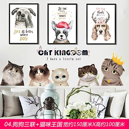 er 3D Dreidimensionale Aufkleber Wand Wohnzimmer Schlafzimmer Wanddekoration Warmen Bett Fernsehwandaufkleber Selbstklebende Tapete, 5. Triple Hund + Katze Kombination Königreich ()