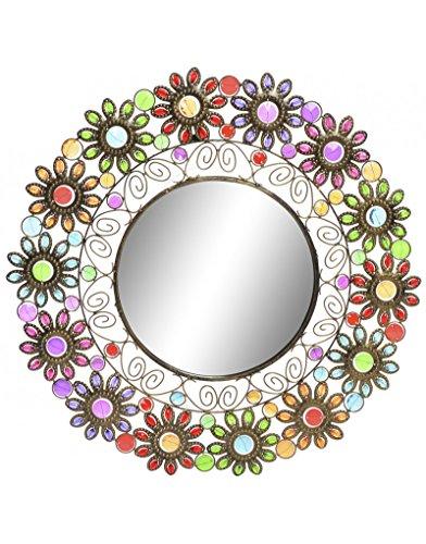 Hogar y Mas Specchio da parete a Forma di Fiore in metallo. Design etnico con gemme 61 x 61i ho cm - Casa e altro ancora