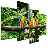 Kunstdruck - Blau-Gelber Papagei - Bild auf Leinwand - 120x80 cm 4 teilig - Leinwandbilder - Tierwelten - Südamerika - Ara - Gelbbrustara - tropisch