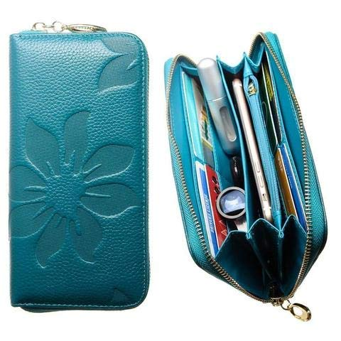 CellularOutfitter Leather Clutch/Wallet Case - Embossed Flower Design w/Multiple Card Slots and Compartments - Teal Blue -