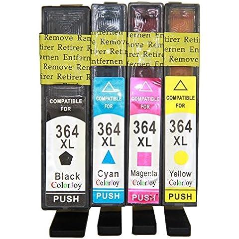 Colorjoy Reemplazo Compatible Cartuchos de tinta HP 364XL (BK+C+M+Y)