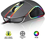 KLIM AIM Chroma RGB Gaming Mouse - 2019 Version - PR�ZISE - Kabel-USB - 500-7000 DPI einstellbar - Programmierbare Tasten - Bequem f�r alle Handgr��en - Beidh�ndiger Griff Gamer Gaming PC PS4 Grau Bild