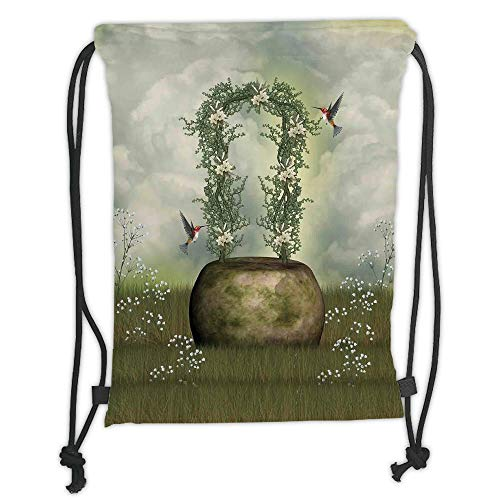 Fashion Printed Drawstring Backpacks Bags,Hummingbirds Decorations,Fairytale Scene with Flowers Stone and Hummingbird Wildflower Arch Cloudy Sky, Soft Satin,5 Liter Capacity,Adjustable String Clos -