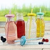 Trinkflaschen mit Deckel und Trinkhalm - 320 ml - 6,5 x 15 cm (ØxH), bunte Deckel, verschiedene Mengen wählbar, Stückzahl:12 Stück