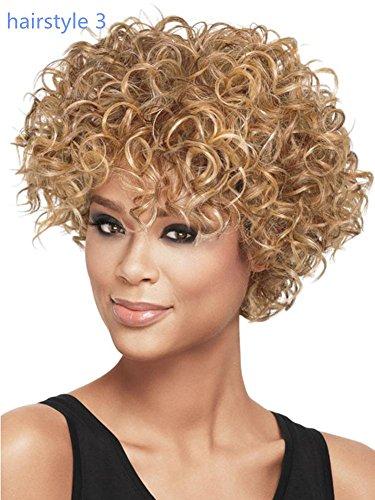 Meylee Perücken Afro kurze Lockenperücke für schwarze Frauen/3 Frisuren , shape (50er Mädchen Jahre Frisuren)