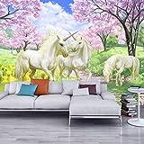 Mural Personalizado Papel De Fantasía Europeo Cuento De Hadas De Dibujos Animados Unicorn Cherry Blossom Wall Mural Para Niños Dormitorio Papel De Pared-(W)400x(H)280cm