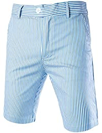 Sourcingmap Allegra K Men Stripes Flat Front Plain-Front Mid Rise Chino Walk Shorts