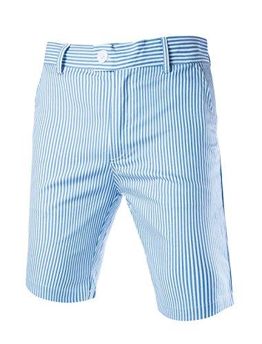 Allegra K Herren Mid Waist Button Streifen Kurze Hose Shorts Blau Weiß L (EU 46) -