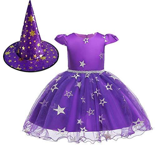 Arzt Kostüm 12 18 Monat - OwlFay Hexenkostüm für Mädchen Halloween Kleid Kinderkostüm Mit Hexenhut 2Stücke Outfit Karneval Party Cosplay Kostüm Lila 6-12 Monate