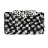 Wgwioo Bag cristal or noir argent diamant incrusté sac de soirée mariage fête de mariée bal de promo embrayage bourse. (18 x 11 cm) black one size