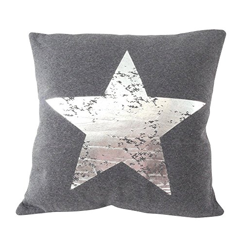 Dekokissen Sterne 45 x 45 cm Dunkelgrau-Silber