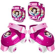Stamp j100038Set de patines de 4ruedas + rodillera y codera para niña, rosa