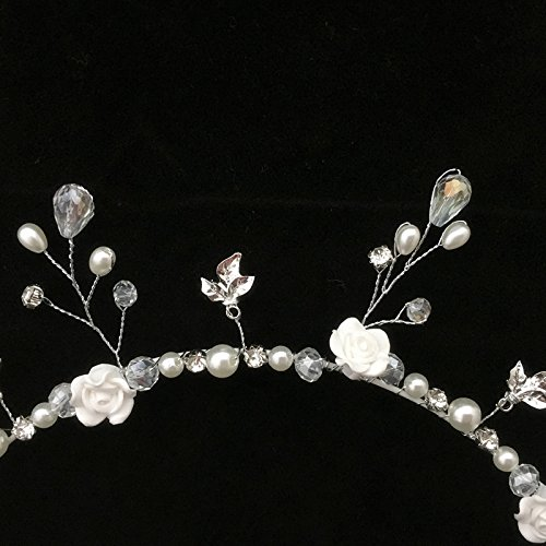 Blanco Hecho A Mano De Flores De Cristal De La Perla De La Boda Del Baile Tocado De Novia Tiara Cabeza