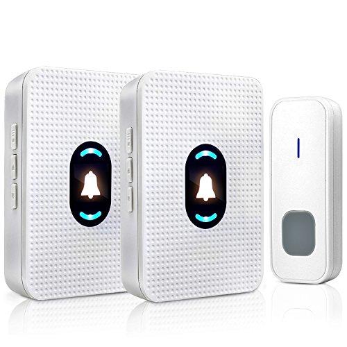 EasySmart Kabellose Türklingel Wasserdicht, Plug-in drahtlose Türklingel-Kits mit 1Fernbedienung Transmitter Knopf und 2Empfängern, Nachtlicht Tür Eintrag Glocke mit 55Chimes, weiß