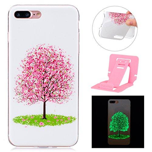 iPhone 7 Plus Leuchtende Hülle,Luminous Schutzhülle für Apple iPhone 7 Plus,Ekakashop Kreativ Design Luminous Schmetterling Muster Night Glow Weiche Silikon TPU Defender Protective Rückseite Schale Tr Luminous Kirschbaum