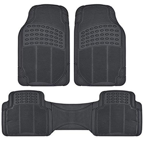 BDK Auto-Fußmatten, für alle Wetter, massiv, Gummi, für vorn und hinten, zuschneidbar, für Auto Van LKW, Schwarz, 3 Stück