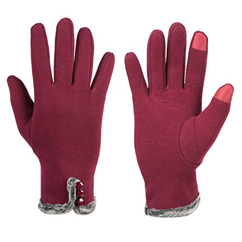GLOUE Warm Winter Handschuhe Damen Touchscreen Handschuhe Kaschmir Drinnen Draußen Fahrradhandschuhe Motorradhandschuhe Mountainbike Handschuhe