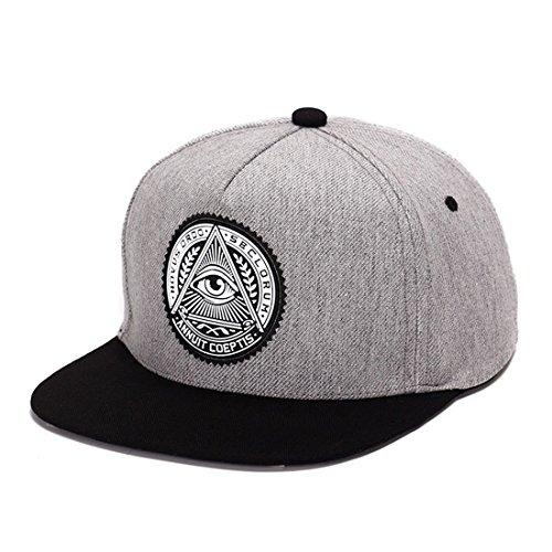 thenice-classic-snapback-cap-regolabile-hip-hop-berretto-da-baseball-grigio