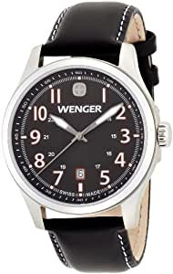 Wenger Terragraph Men's Quartz Watch with Black Dial Analogue Display and Black Leather Strap 010541104