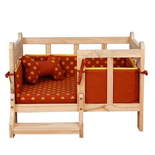 YIXIN Haustier-Bett-hölzerner Bett-Rahmen keine Farbe ungiftig mit Kissen entfernbare saubere 4 Farben, zum von zu wählen ( Farbe : Orange )