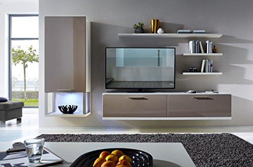 Design Mediencenter, Soft Close-Dämpfung, Wohngalerie Korpus Weiß Mattlack / Front Cappuccino Hochglanz