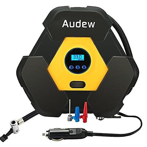 Audew 12V Compresseur d'air Portatif Voiture, Gonfleur de Pneus Digital avec Éclairage LED Allume-cigare 3M Fil Pour Auto Vélo Bateau
