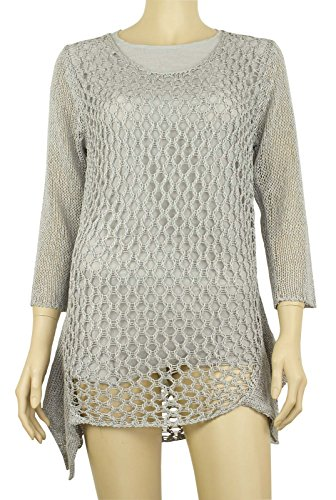 Casamia da donna casual moda 3/4Manica maglia Holey strato Mock camicetta top jumper Grey