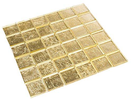 Glasmosaik Gold-Effekt 4,8 x 4,8 cm Fliesen Mosaik 8 mm