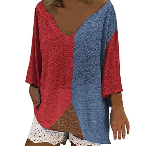 kolila Damen Oberteile Tops Plus Size Lose Rundhals Beiläufige Langarm Farbblock Patchwork Shirts Blusen Pullover Tunika Adult-patchwork Shirt