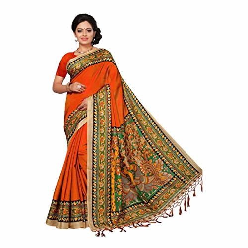 Solid, Paisley, Printed Bhagalpuri Silk Saree (Red, Multicolor) Paisley Printed Silk Dress