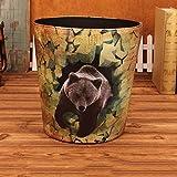 Lejia Große Mülleimer, Haushalt Kreative Wohnzimmer Schlafzimmer Badezimmer Stilvolle Mülleimer Ohne Abdeckung Pu Papierkorb 10L (Farbe : C)