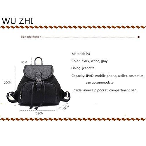 WU Zhi Ladies Travel Zaino Spalle Drawstring In Pelle Morbida Mini Borsa Scatola Scuola Grey