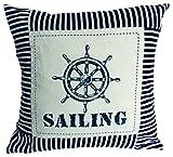 elbmöbel Kissen mit Füllung Sailing maritim mit Steuerrad für Kapitäne und Seefahrer