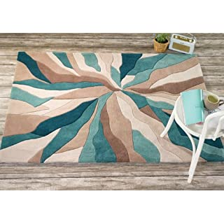 Lord of Rugs Very Large Quality Modern HeavyWeight Modern Art Design Turquoise Beige Area Rug in 160 x 220 cm (5'3'' x 7'4'') Carpet