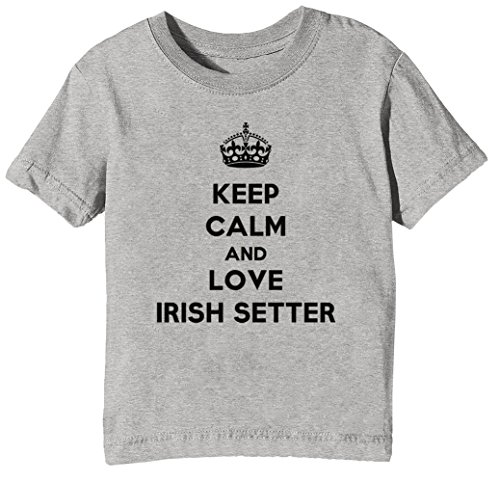 Keep Calm and Love Irish Setter Kinder Unisex Jungen Mädchen T-Shirt Rundhals Grau Kurzarm Größe L Kids Boys Girls Grey Large Size L (Boys-t-shirts Irish Love)