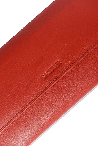 Portafogli di 19cm da donna SADDLER in pelle con tripla fodera e portamonete con 18 sezioni per carte di credito e 2 tasche porta monete con cerniera Rosso