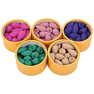 Jeteven 50/100 Stücke Räucherkerze Räucherkegeln Natürlicher Duft Räucherkegel Duft: Sandelholz,Kirschblüte,Lavendel,grüner Tee,Rose