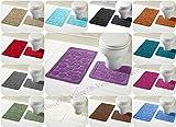 2-teiliges Badematten-Set 'Cali Circles' Bad- und WC-Vorleger, rutschfeste Rückseite aus Gummi und bequem, plastik, violett, UK SIZE