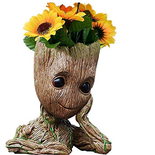 Bestes Halloween-Geschenk Baby Groot Stiftehalter Organizer oder Sukkulenten Blumen Topf mit Drainage Loch The Guardians of Galaxy Tree Man Action Figuren 15,2 cm (Baby-ideen Halloween Für)