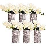 Chive–Weave, cuadrada de cerámica florero, decoración moderna jarrón para decoración del hogar Sala de estar mesa y eventos–al por mayor (6unidades)–metálico plata