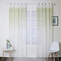Metermall Curtain 1PC Simple Modern Green Plants Leaf Pattern Home Decor Tulle Curtain for Living Room Bedroom Window green W100cm * H250cm punched