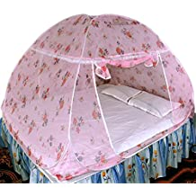 Healthy Sleeping Foldable Polyester Double Bed Mosquito Net (Light Pink)